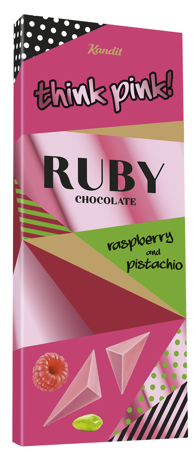 THINK PINK RUBY CHOCOLATE PISTACHIO AND RASPBERRY 80 g UTZ