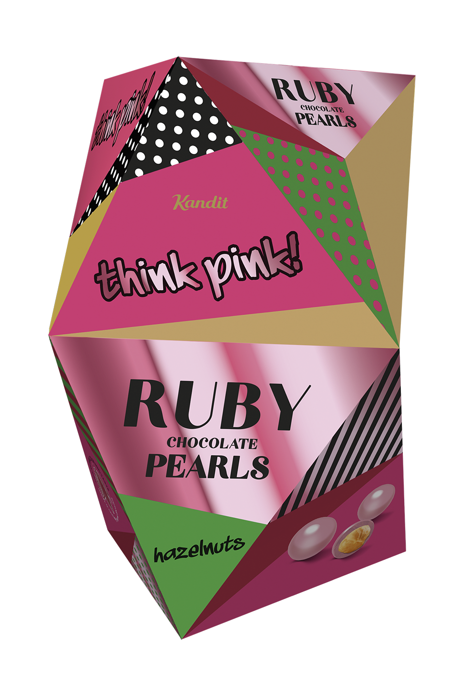 THINK PINK RUBY CHOCOLATE PEARLS HAZELNUTS 80 g UTZ