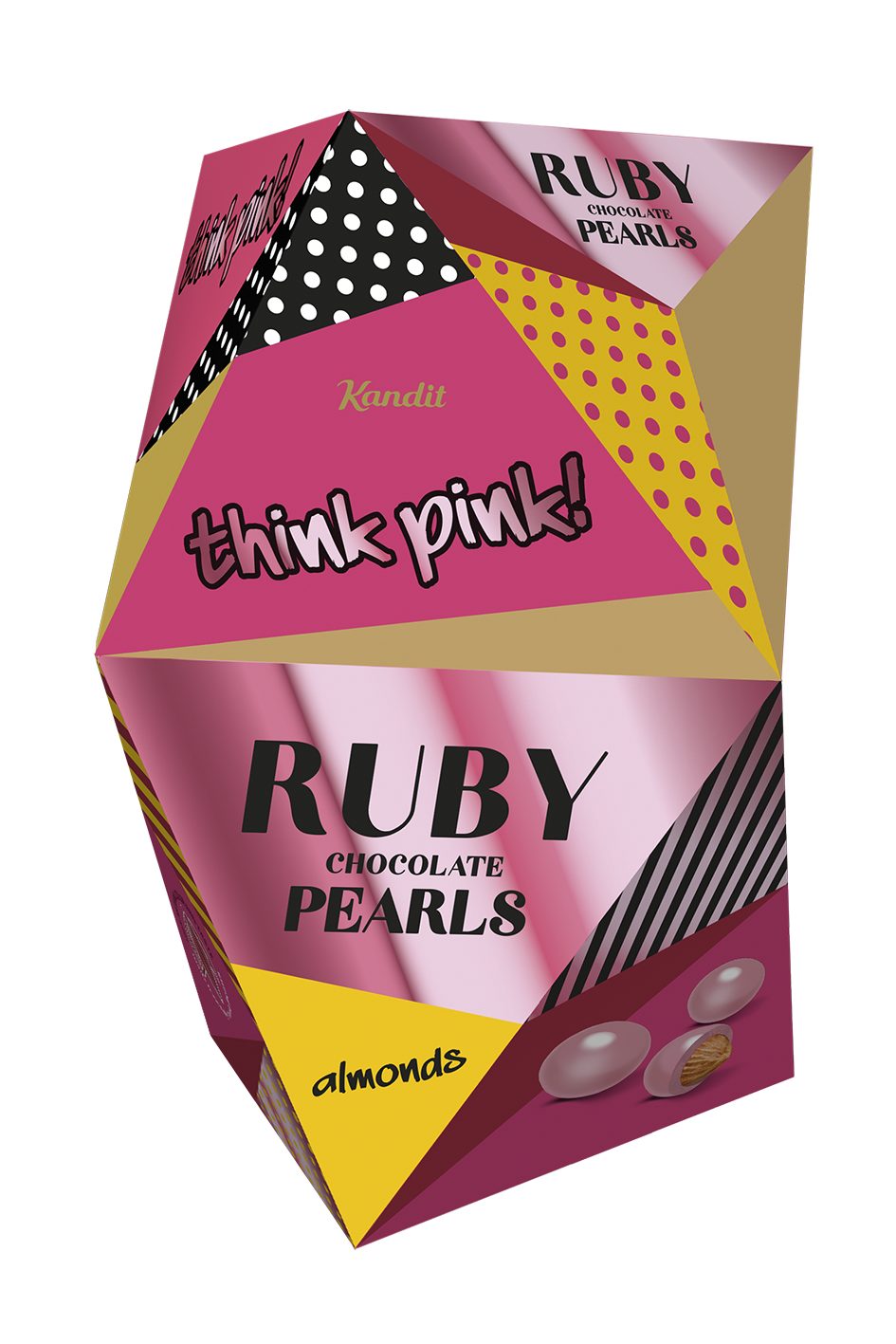 THINK PINK RUBY CHOCOLATE PEARLS ALMONDS 80 g UTZ